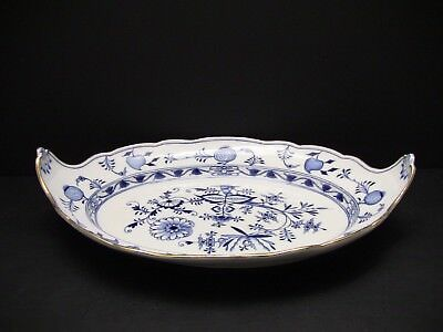 Antique Meissen Blue Onion Large Platter with Handles and Gold Trim