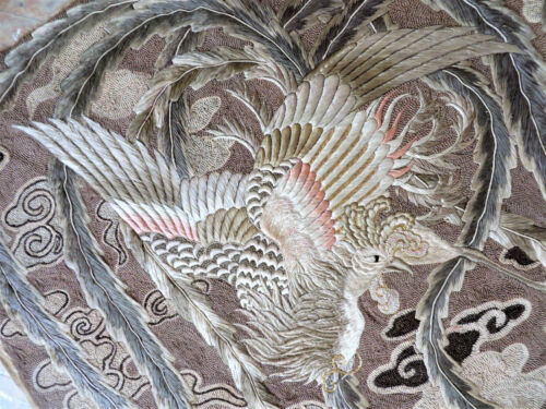 Antique Large Chinese Silk Phoenix Bird Embroidery