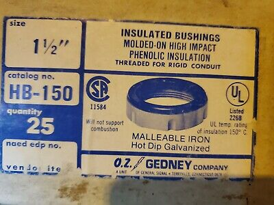 Hb150 Oz Gedney 1-12 Ins. Grounding Bushings Hot Dipped Galvanized Box Of 25