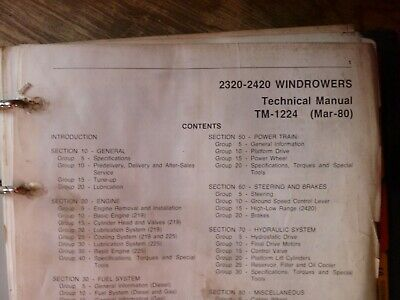 John Deere 2320 2420 Windrower Shop Service Repair Technical Manual Tm-1224
