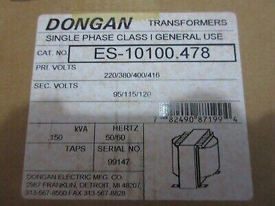 Dongan Transformer Es-10100-478 Pri Volts 220380400416 Sec Volts 95115120