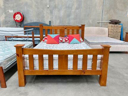 TODAY DELIVERY STRONG SOLID WOODEN Queen bed and mattress SALE