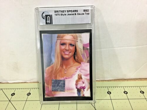 BRITNEY SPEARS WORN SWATCH CARD 1970 Style Jeans & Top, FREE shipping!