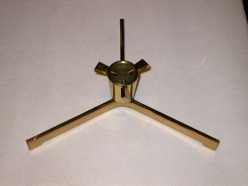 """Vtg Heavy Duty Solid Brass Christmas Tree Stand Silver Artificial Live 1.5"""" Diam"""