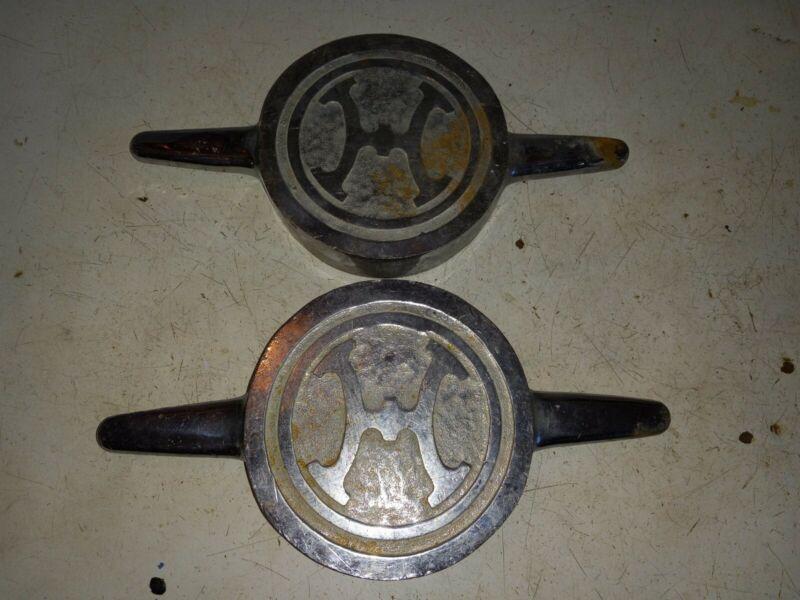 "2 Vintage Chrome Brass Howe fire engine fire truck Valve pump caps 12 1/2"" Long"