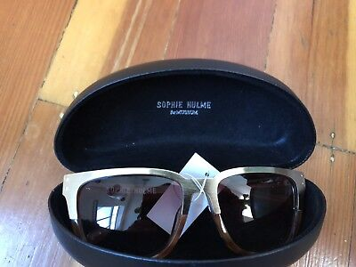 $260 NEW sophie hulme designer sunglasses brushed gold metal tortoise with case