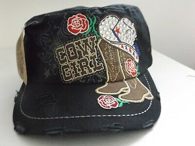 Western Cowgirl Baseball Cap Distressed With Rhinestones, boots hat rose, - Black Cowgirl Hat With Rhinestones