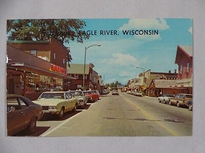 Used, 1977 Postcard Greetings Eagle River WI Main Street USA for sale  Blue Grass