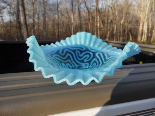 Antique Blown Blue Opalescent Ruffled Bowl / Jefferson  / Swirling Maze
