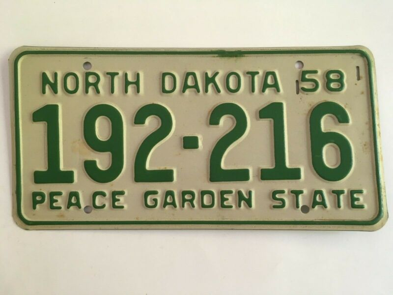 1958 North Dakota License Plate Nice All Original