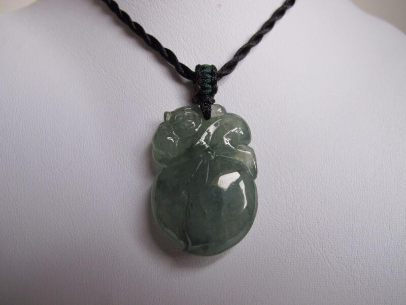 100% Natural Type A Jadeite Jade Monkey and peach pendant C00141