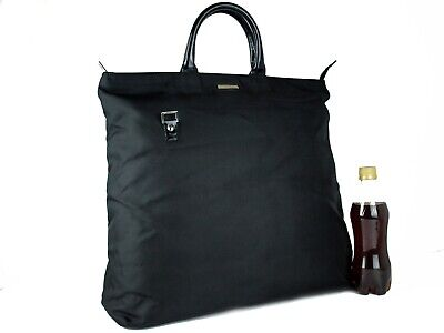 Authentic GUCCI Black Canvas Nylon Leather Large Hand Bag Tote Bag Vintage Italy