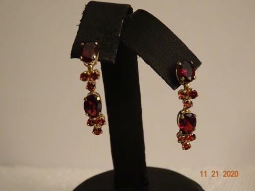 "14K Yellow Solid Gold and Garnet Dangle Earrings for Pierced Ears-1"" long"