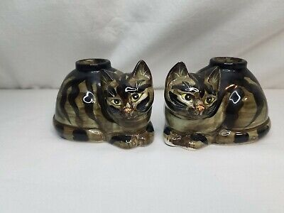 Vintage Ceramic Kitty Cat Tabby Figurine Candle Stick Holders By Seymour Mann