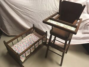 Wooden toy high chair and cradle