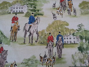 MARSON-CROSBY-HUNTING-SCENE-HORSES-HOUNDS-COTTON-PRINT-FABRIC