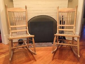 Set of 2  Vintage Wooden Armless Rocking Chairs