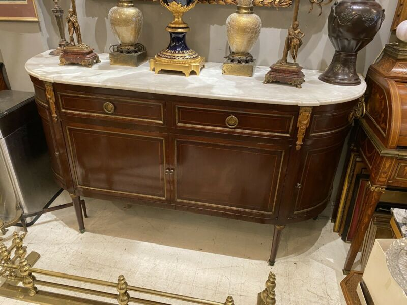 Louis XVI French Jansen Style Mahogany Demilune Sideboard Server Marble Top