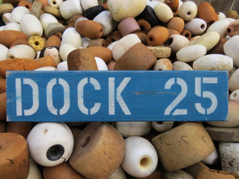 24 INCH WOOD HAND PAINTED DOCK 25 SIGN NAUTICAL MARITIME SEAFOOD (#S612)