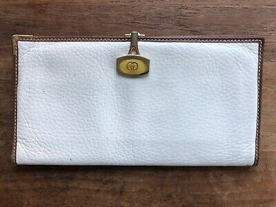 VINTAGE GUCCI WHITE LEATHER WALLET GG CLIP Gucci White Wallet