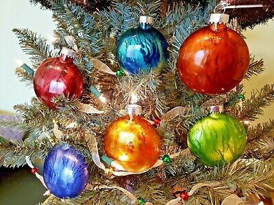 Alcohol Ink Christmas Ornaments: Unique One Of A Kind Glass Ornaments ()