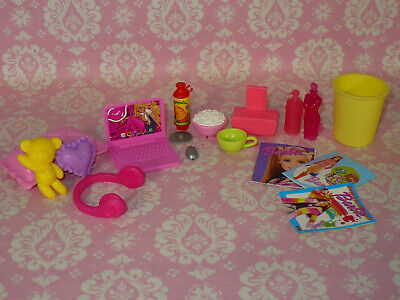 Mattel Barbie Doll Accessory Lot BEDROOM Dreamhouse Accessories Lot Laptop Mags+