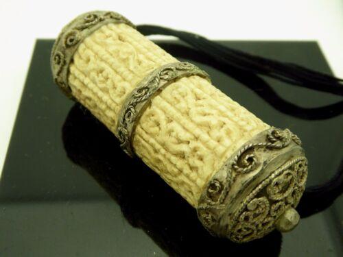 Vintage Amulet Water Buffalo Bone Protection Prayer Box Pendant Chain Necklace