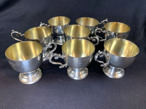 Vintage Birmingham Silver Co. Lot of 8 Punch Bowl Cups Silver on Copper 595