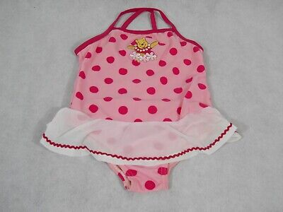 Winnie The Pooh Suit (Girls Winnie the Pooh One Piece Bathing Suit with Attached Skirt Pink Polka)