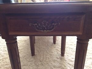 Solid oak coffee and end tables (2)