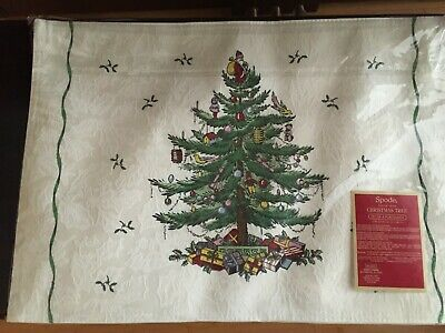 "Spode Damask Cloth Christmas Tree Holly (4) Table Place Mats 19"" x 13"" - NEW!"