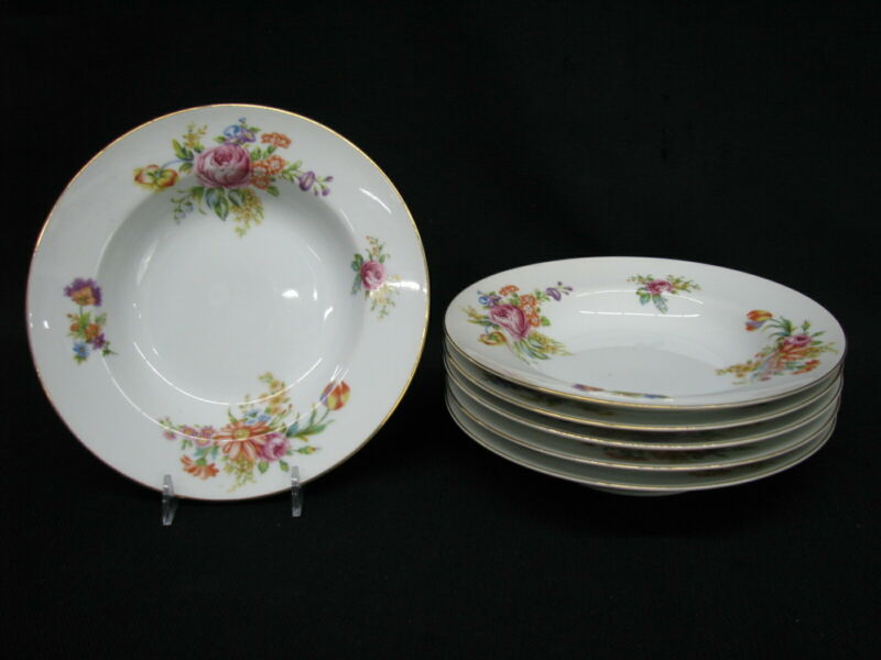 "6 Narumi China Rose & Floral 8 3/8"" Rim Soup Bowls Occupied Japan MINT 1940s"