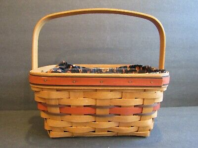 Longaberger HALLOWEEN BOO BASKET With Cloth PUMPKIN Liner & Plastic Protector