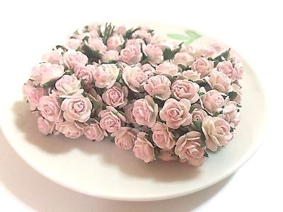 20 Mini Light Pink Roses Mulberry Paper Flowers Wedding Card Scrapbook Dolls 1cm ()