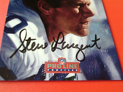 (1992   STEVE  LARGENT  HAND SIGNED  AUTOGRAPHED  AUTHENTIC  PRO-LINE  5  OF 9   )