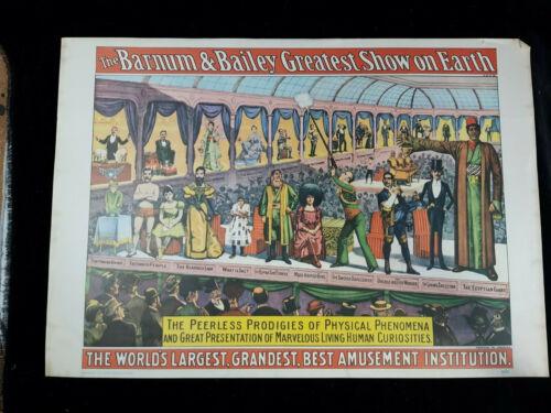 1960 Circus Poster Barnum and Bailey Prodigies of Physical Phenomena Freak Show