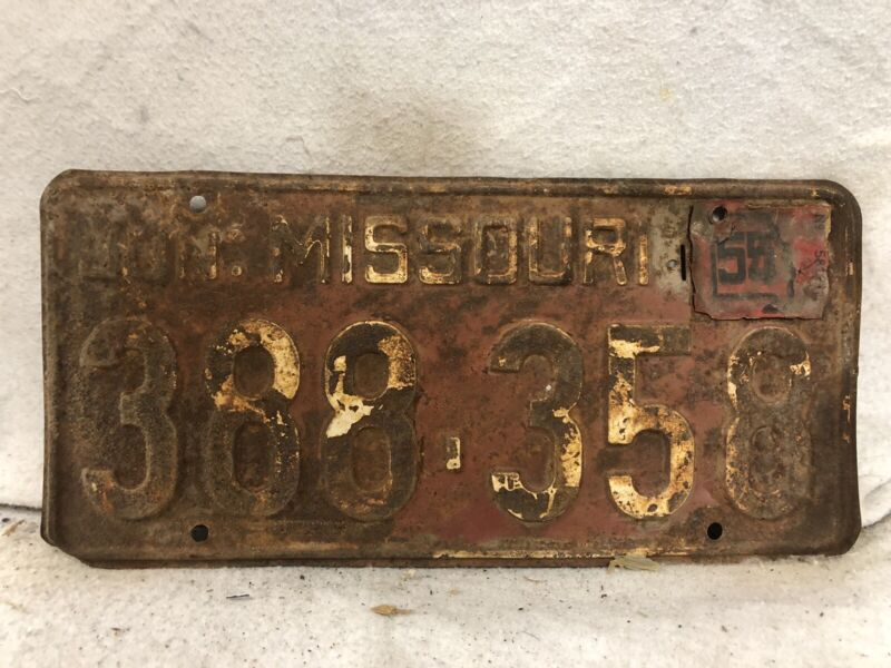 Vintage 1955 Missouri License Plate