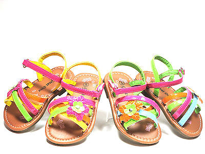 (Toddler Girls Sandals Strappy Flower Multi Color Sz 3-11  Green - Yellow )