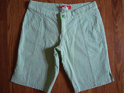 Puma Green White Striped Active Athletic Golf Casual Cotton Bermuda Shorts XS
