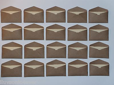 20 Kraft brown mini envelopes and 20 cream index card inserts