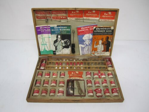 Vtg Porter Chemcraft Chemistry Outfit #5 Science Set W/ Wood Box & Manuals As Is