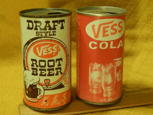 VESS Beverage Co [St. Louis, MO] Draft Root Beer + Cola [Flat Top] Soda Pop CANS