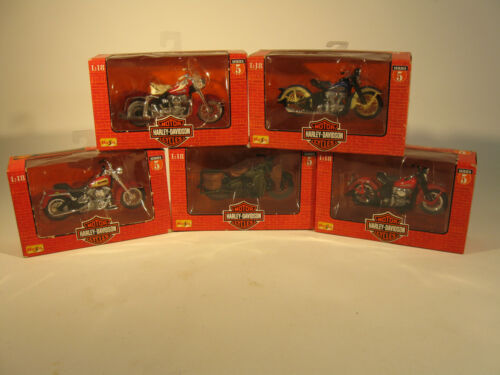 Five Maisto Harley Davidson Die Cast Motorcycles from the Series 5 Set