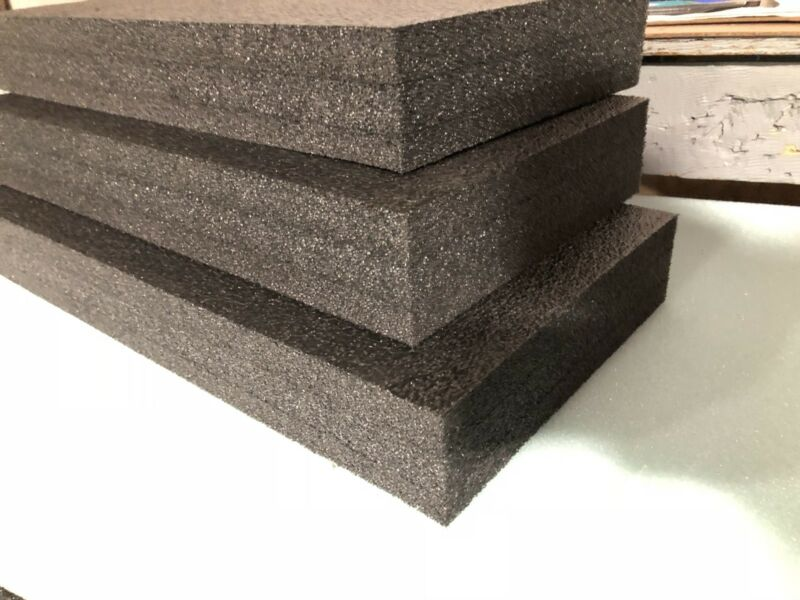 "3 Sheets - 26"" x 15"" x 3"" POLYETHYLENE PLANK FOAM, Density 1.7pcf BLACK"