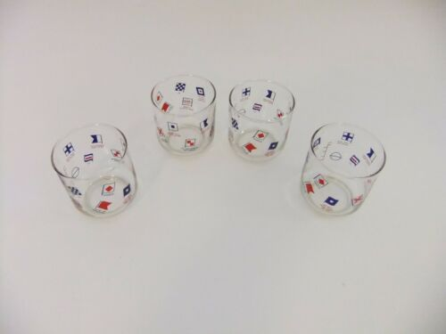 Four Vintage Enco Humble Oil Naval Danger Hazard Flag Glasses Tumblers