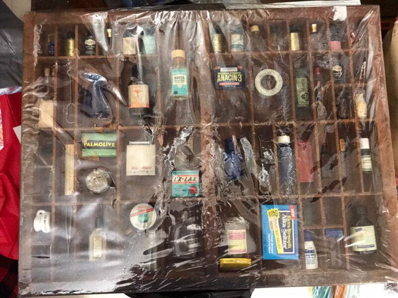 Pharmacy Framed Vintage Drug Medications And Bottles