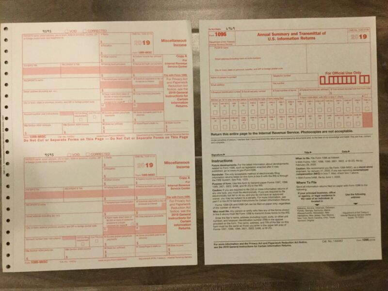 (8) 2019 IRS TAX FORMS 1099-MISC (8 Recipients) + 2 FORMS 1096