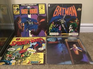 1970's Batman Spider-man Superman vintage vinyl records