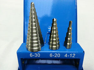 STEP DRILL SET 3 Piece HSS 4 - 12mm, 6 - 20mm, 6 - 30mm METAL CASE  BRAND NEW