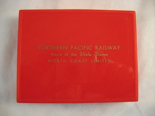 Vtg Northern Pacific Railway Playing Card Two Deck Set In Original Case & Sleeve